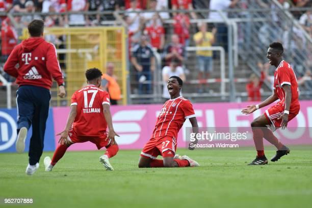 Derrick Koehn of Bayern Meunchen celebrates scoring his teams third goal during the Regionalliga Bayern match between FC Bayern Muenchen II and TSV...
