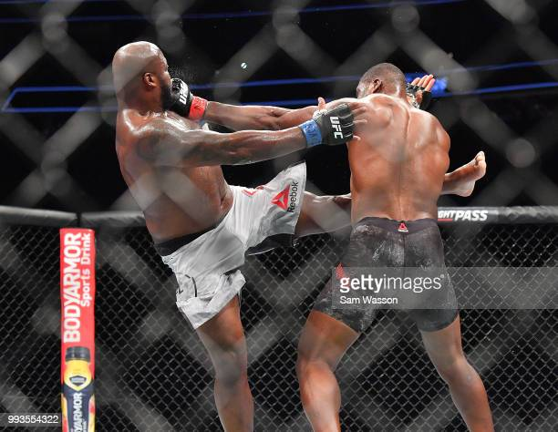 Derrick Lewis and Francis Ngannou battle during their heavyweight fight at TMobile Arena on July 7 2018 in Las Vegas Nevada Lewis won by unanimous...
