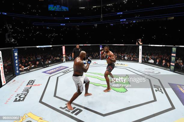 Derrick Lewis and Francis Ngannou of Cameroon face each other in their heavyweight fight during the UFC 226 event inside TMobile Arena on July 7 2018...
