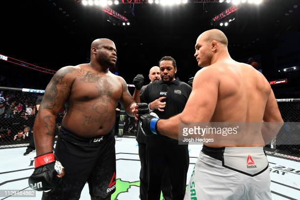 Derrick Lewis and Junior Dos Santos of Brazil square off prior to facing in their heavyweight bout during the UFC Fight Night event at Intrust Bank...
