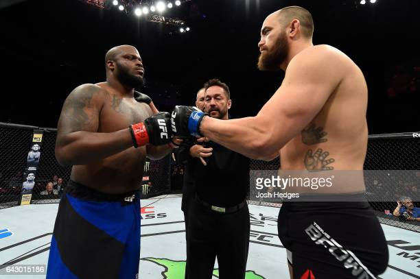 Derrick Lewis and Travis Browne touch gloves before their heavyweight fight during the UFC Fight Night event inside the Scotiabank Centre on February...