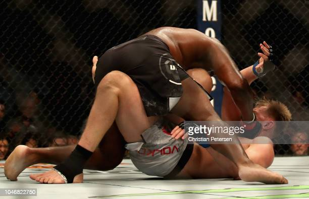 Derrick Lewis beats on Alexander Volkov of Russia in their heavyweight bout during the UFC 229 event inside TMobile Arena on October 6 2018 in Las...