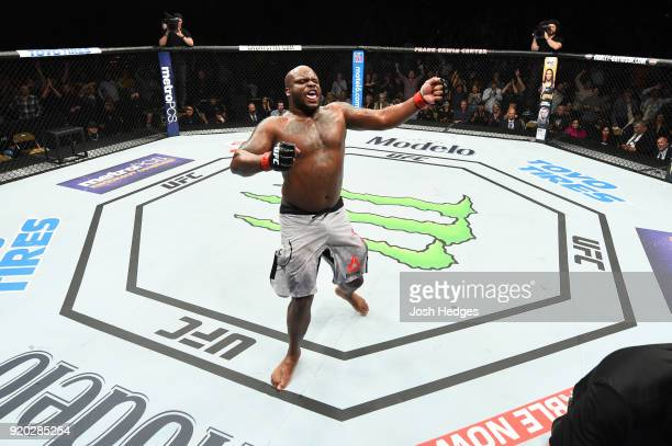Derrick Lewis celebrates after defeating Marcin Tybura of Poland by KO in their heavyweight bout during the UFC Fight Night event at Frank Erwin...