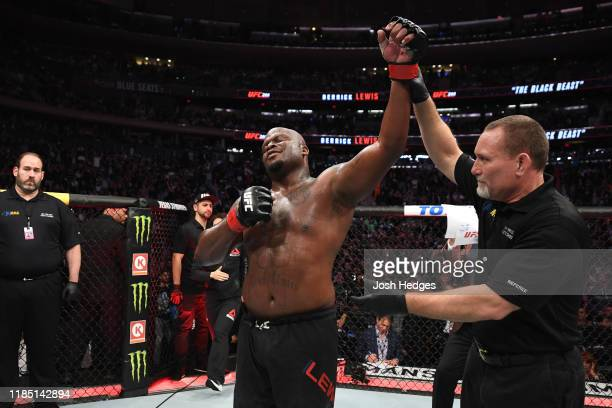 Derrick Lewis celebrates his victory over Blagoy Ivanov of Bulgaria in their heavyweight bout during the UFC 244 event at Madison Square Garden on...