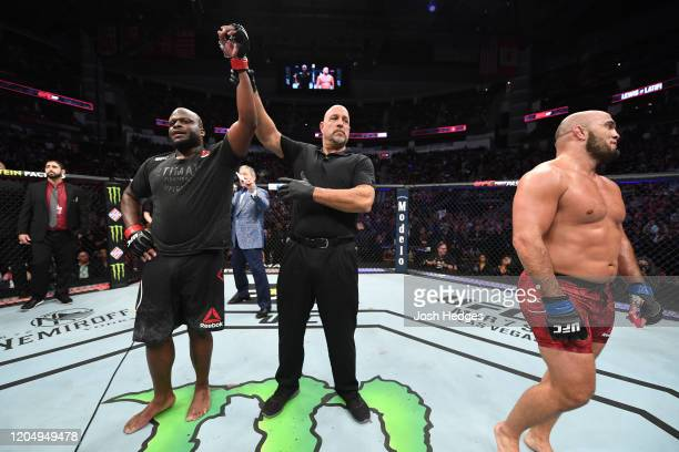 Derrick Lewis celebrates his victory over Ilir Latifi of Sweden in their heavyweight bout during the UFC 247 event at Toyota Center on February 08...