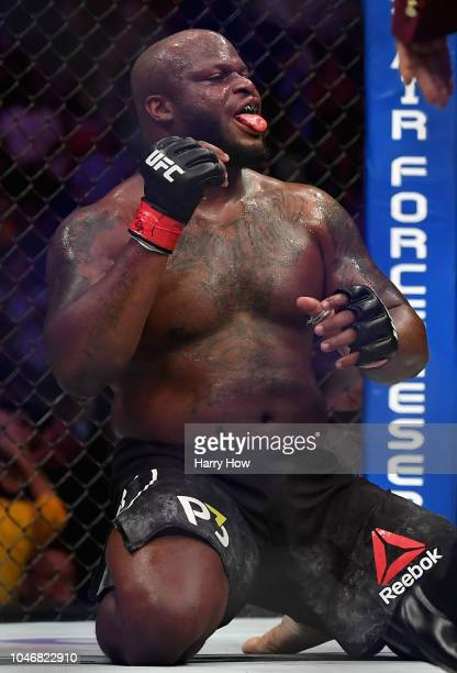 Derrick Lewis celebrates knocking out Alexander Volkov of Russia in their heavyweight bout during the UFC 229 event inside TMobile Arena on October 6...