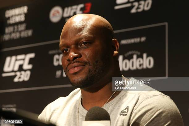 Derrick Lewis interacts with media during the UFC 230 ultimate media day at New York Marriott Marquis on November 1 2018 in New York City