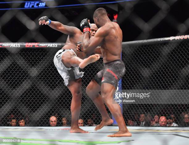 Derrick Lewis kicks Francis Ngannou during their heavyweight fight at TMobile Arena on July 7 2018 in Las Vegas Nevada Lewis won by unanimous decision