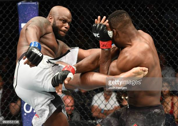 Derrick Lewis kicks Francis Ngannou of Cameroon in their heavyweight fight during the UFC 226 event inside TMobile Arena on July 7 2018 in Las Vegas...