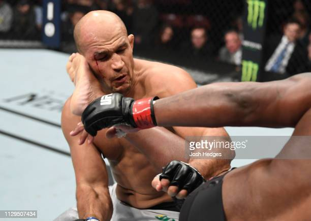 Derrick Lewis kicks Junior Dos Santos of Brazil in their heavyweight bout during the UFC Fight Night event at Intrust Bank Arena on March 9, 2019 in...
