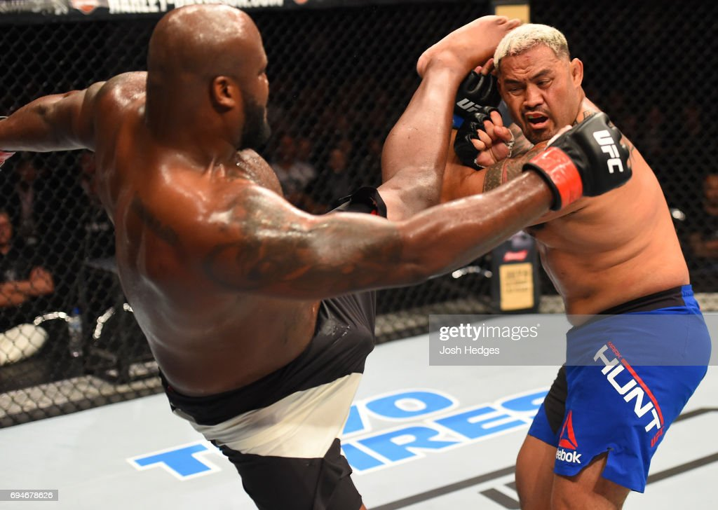 Derrick Lewis lands a kick to the head of Mark Hunt of New Zealand in their heavyweight fight during the UFC Fight Night event at the Spark Arena on June 11, 2017 in Auckland, New Zealand.