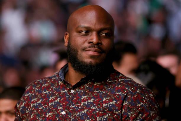 Derrick Lewis looks olooks onduring UFC 264: Poirier v McGregor 3 at T-Mobile Arena on July 10, 2021 in Las Vegas, Nevada.