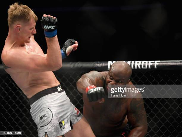 Derrick Lewis misses Alexander Volkov of Russia in their heavyweight bout during the UFC 229 event inside TMobile Arena on October 6 2018 in Las...