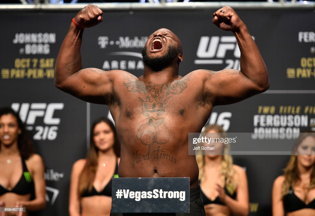 Derrick Lewis poses on the scale during the UFC 216 weigh-in inside T-Mobile Arena on October 6, 2017 in Las Vegas, Nevada.