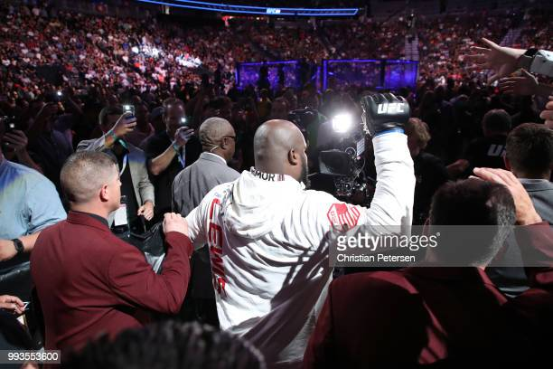 Derrick Lewis prepares to enter the Octagon against Francis Ngannou of Cameroon in their heavyweight fight during the UFC 226 event inside TMobile...