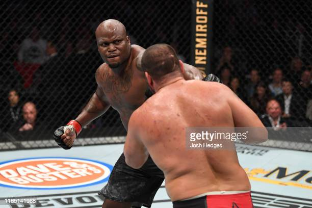 Derrick Lewis punches Blagoy Ivanov of Bulgaria in their heavyweight bout during the UFC 244 event at Madison Square Garden on November 02 2019 in...