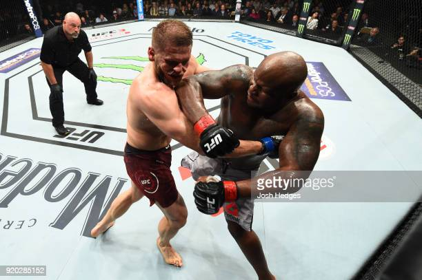 Derrick Lewis punches Marcin Tybura of Poland in their heavyweight bout during the UFC Fight Night event at Frank Erwin Center on February 18 2018 in...