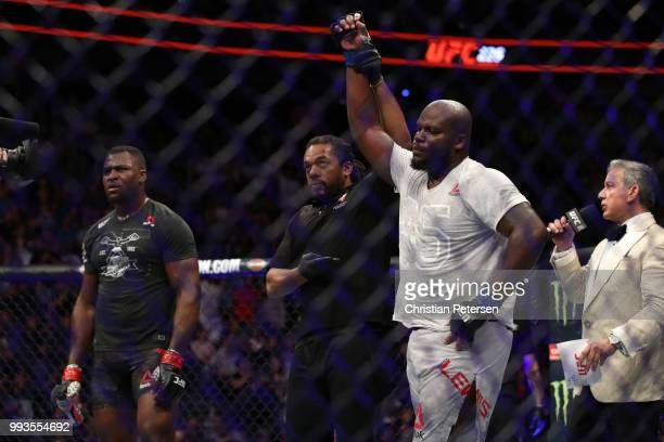 Derrick Lewis raises his hand in a decision over Francis Ngannou of Cameroon in their heavyweight fight during the UFC 226 event inside TMobile Arena...