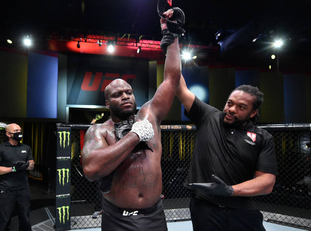 Derrick Lewis reacts after his knockout over Aleksei Oleinik of Russia in their heavyweight fight during the UFC Fight Night event at UFC APEX on...