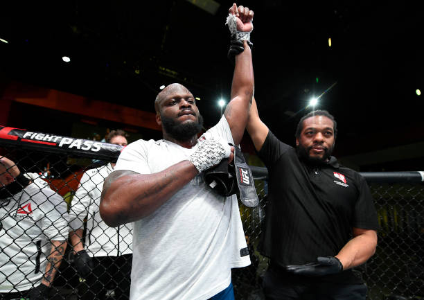 Derrick Lewis reacts after his knockout victory over Curtis Blaydes in a heavyweight bout during the UFC Fight Night event at UFC APEX on February...
