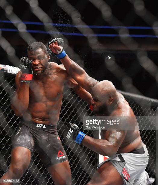 Derrick Lewis throws a punch against Francis Ngannou during their heavyweight fight at TMobile Arena on July 7 2018 in Las Vegas Nevada Lewis won by...