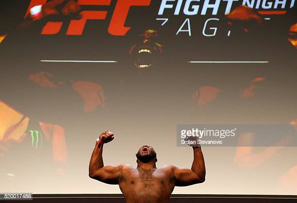 Derrick Lewis weighs in during the UFC Fight Night weighin at the Arena Zagreb on April 9 2016 in Zagreb Croatia
