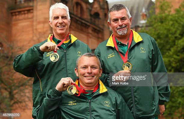Derrick Lobban, Deon van de Vyver and Roger Hagerty of South Africa pose with their gold medals won in the Para-Sport Open Triples B6/B7/B8 lawn...