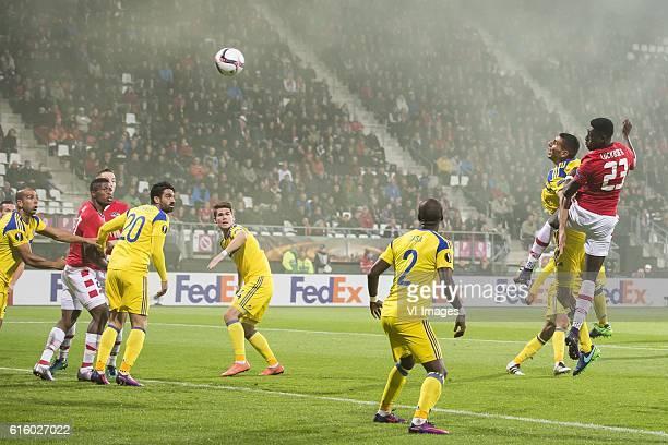 Derrick Luckassen of AZ Alkmaar hits the crossbarduring the UEFA Europa League group D match between AZ Alkmaar and Maccabi Tel Aviv on October 20...