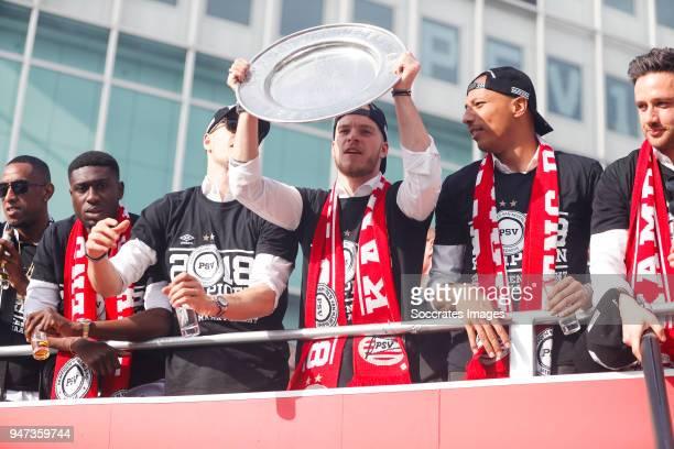 Derrick Luckassen of PSV, Marco van Ginkel of PSV, Jorrit Hendrix of PSV, Eloy Room of PSV, Luuk Koopmans of PSV leaving the stadium during the...