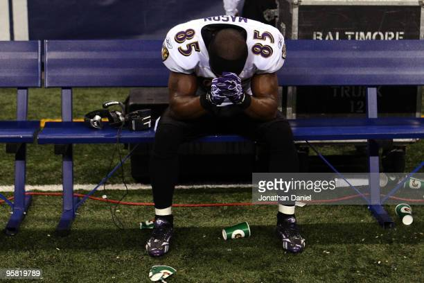 Derrick Mason of the Baltimore Ravens sits on the bench after losing to the Indianapolis Colts 20-3 in the AFC Divisional Playoff Game at Lucas Oli...
