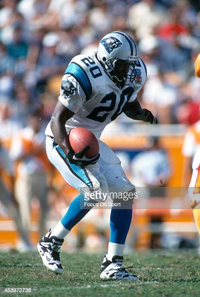 Derrick Moore of the Carolina Panthers carries the ball against the Tampa Bay Buccaneers during an NFL football game October 1 1995 at Memorial...