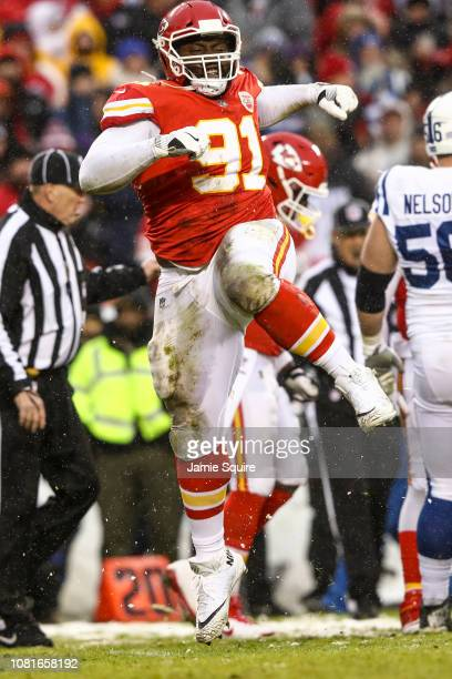 Derrick Nnadi of the Kansas City Chiefs celebrates after a defensive stop against the Indianapolis Colts during the first half of the AFC Divisional...