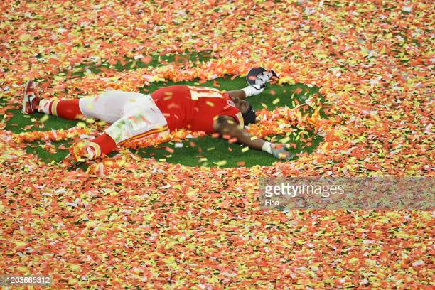 Derrick Nnadi of the Kansas City Chiefs celebrates after defeating the San Francisco 49ers 31-20 in Super Bowl LIV at Hard Rock Stadium on February...