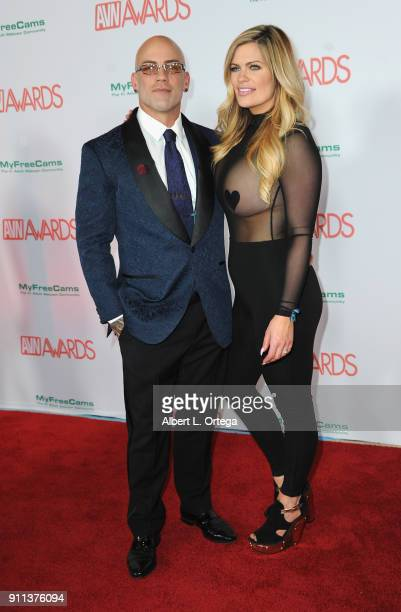 Derrick Pierce and Courtney Lazar attend the 2018 Adult Video News Awards held at Hard Rock Hotel Casino on January 27 2018 in Las Vegas Nevada