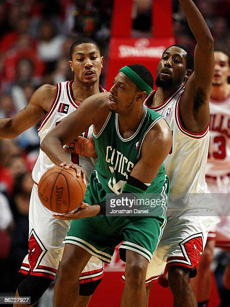 Derrick Rose and John Salmon of the Chicago Bulls pressure Paul Pierce of the Boston Celtics in Game Four of the Eastern Conference Quarterfinals...