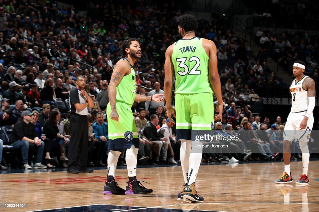 b6a08ac4d8a1 Derrick Rose and Karl-Anthony Towns of the Minnesota Timberwolves ...