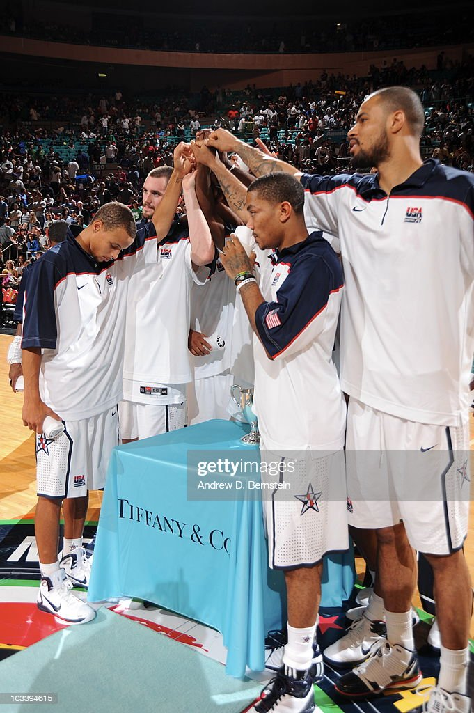 Derrick Rose #6 and Tyson Chandler #15 of the USA Men's National Team huddles after defeating France on August 15, 2010 at Madison Square Garden in New York City.