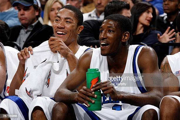Derrick Rose and Willie Kemp of the Memphis Tigers share a laugh during a game against the Siena Saints at FedExForum January 3, 2008 in Memphis,...