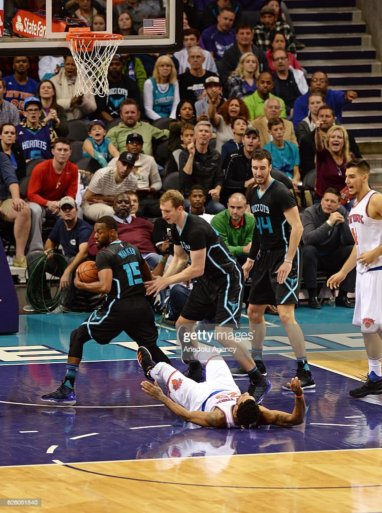 Derrick Rose of New York Knicks is on the ground during the NBA match between New York Knicks vs Charlotte Hornets at the Spectrum arena in Charlotte, NC, USA on November 26, 2016.