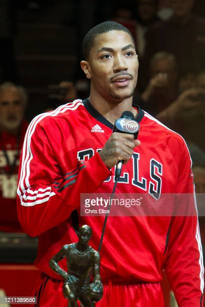Derrick Rose of the Chicago Bulls addresses the crowd with the KIA Motors NBA MVP Trophy prior to Game Two of the Eastern Conference Semifinals...