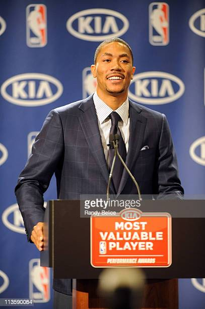 Derrick Rose of the Chicago Bulls addresses the media after receiving the 201011 Kia NBA Most Valuable Player Award on May 3 2011 in Lincolnshire...