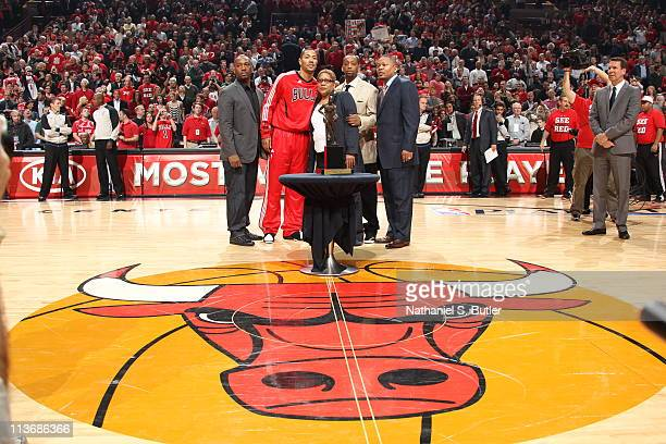 Derrick Rose of the Chicago Bulls and family pose for a picture prior to Game Two of the Eastern Conference Semifinals between the Atlanta Hawks and...