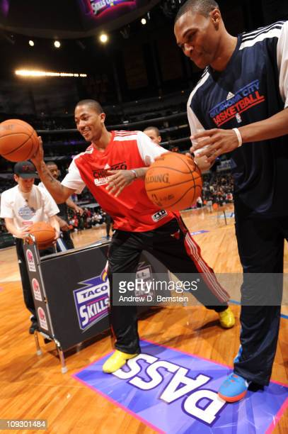 a1825ebfe30d Derrick Rose of the Chicago Bulls and Russell Westbrook of the Oklahoma  City Thunder warm up