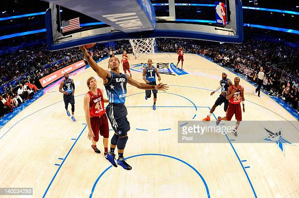 Derrick Rose of the Chicago Bulls and the Eastern Conference drives for a shot attempt during the 2012 NBA All-Star Game at the Amway Center on...