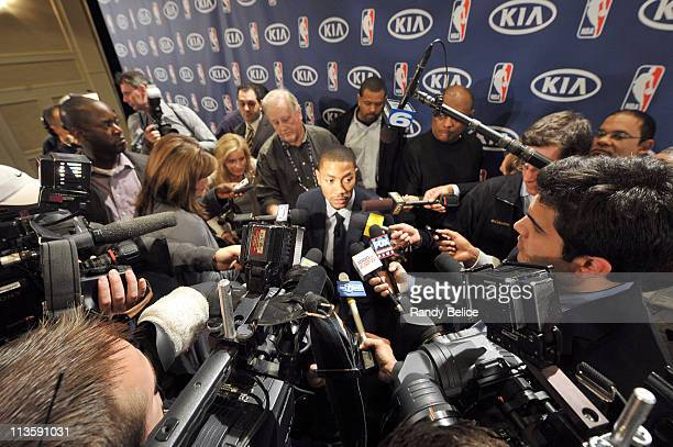 Derrick Rose of the Chicago Bulls answers questions from the media after receiving the 201011 Kia NBA Most Valuable Player Award on May 3 2011 in...