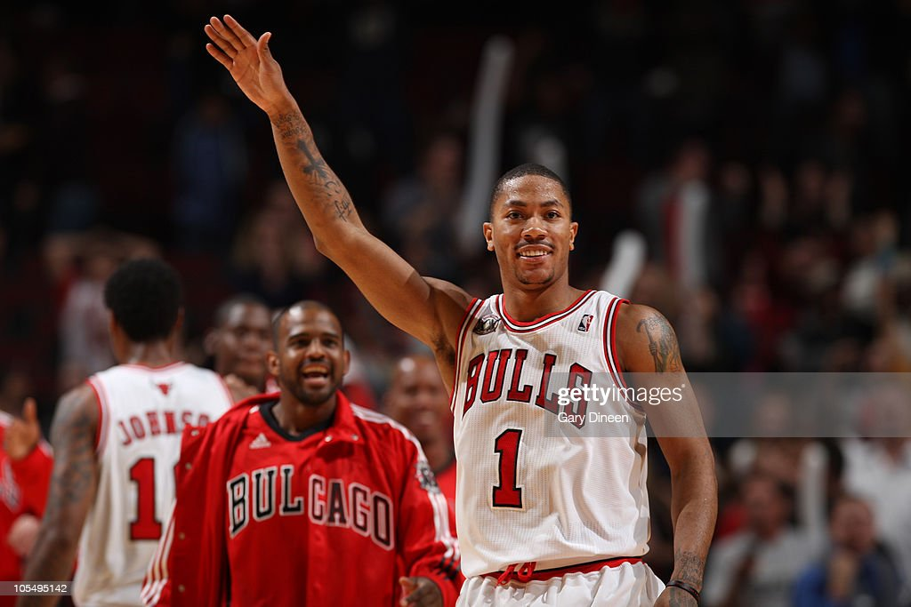 Derrick Rose of the Chicago Bulls celebrates after hitting a