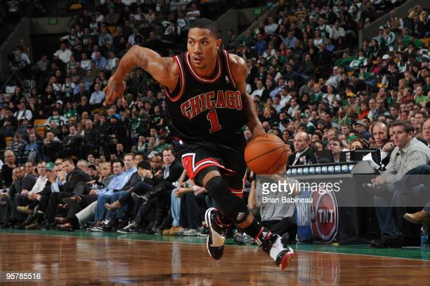 Derrick Rose of the Chicago Bulls dribbles the ball during the game against the Boston Celtics on January 14, 2010 at the TD Garden in Boston,...