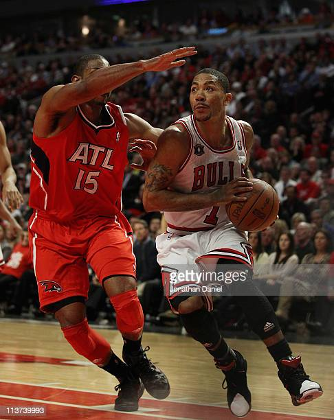 Derrick Rose of the Chicago Bulls drives against Al Horford of the Atlanta Hawks in Game Two of the Eastern Conference Semifinals in the 2011 NBA...