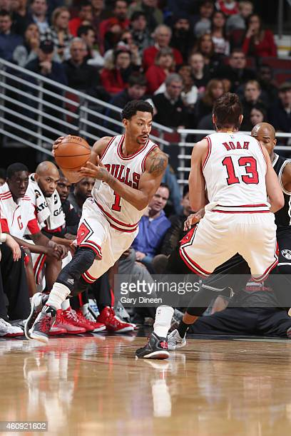 Derrick Rose of the Chicago Bulls drives to the basket against the Brooklyn Netsduring the game on December 30 2014 at United Center in Chicago...