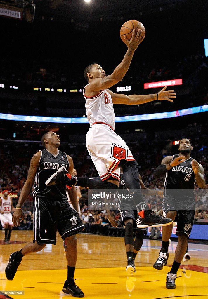 Derrick Rose #1 of the Chicago Bulls drives to the basket during a game against the Miami Heat at American Airlines Arena on January 29, 2012 in Miami, Florida.